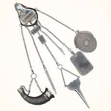 Rare Silver Watch Chatelaine by H.W. Dee, London, 1870