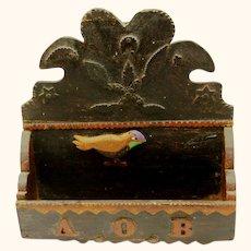 Delightful Americana Folk Art Comb Box, 1898