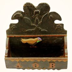 Delightful Americana Folk Art Comb Box, 1898