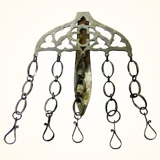 Steel Chatelaine with Five Short Chains, of Beautiful Craftsmanship, mid-Victorian