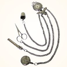 Attractive Chased & Faceted Steel Needlework Chatelaine, late 19th Century