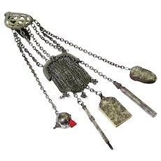 Classic late 19th Century Steel Chatelaine with Six Original Appendages