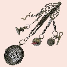 Incredible Rare Steel Watch Chatelaine with Appendages, late 18th Century