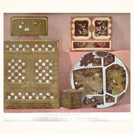 Elegant Chromolithograph featuring Japanned Cabinets & Earthenware, later 19th Century