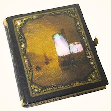 Daguerreotype in Mother of Pearl, Papier Mache & Leather Case, Named Lady with Jewellery, c1855