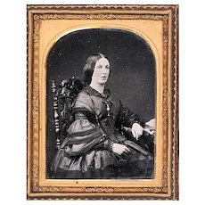 Stylish Ambrotype of Seated Lady Wearing Pagoda-Sleeved Dress and Jewellery, c1860