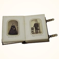 Superior Leather & Brass Album of Cartes de Visite of Named Sitters, American, Civil War Era