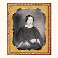 Classic Mid-19th Century Daguerreotype of Young Lady with Guard Chain, Pencil & Watch, Half Case