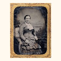 Ambrotype of Older Lady in Elaborate Gown & Jewellery, Half Case, c1880