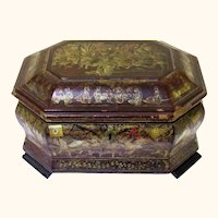 Complete Chinese Export Market Lacquer Octagonal Tea Caddy, c1840