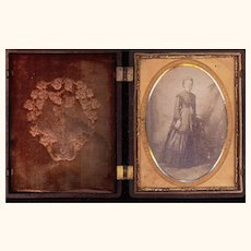 Interesting Ambrotype of a Lady Housed in a Thermoplastic Case, Quarter Plate, 19th Century