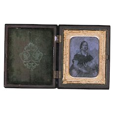 Interesting Detailed Ambrotype in Gutta Percha Case, Ninth Plate, Mid-19th Century