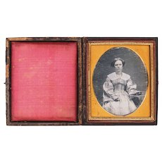 Hand-tinted Daguerreotype of Lovely Young Lady in Plaid Gown & Jewelry, Sixth Plate, Mid-19th Century