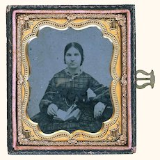 Interesting 19th Century Ambrotype Depicting Young Lady's Outfit & Jewelry, Sixth Plate