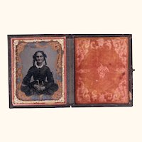 Interesting Ninth Plate Ambrotype of Older Woman, American Civil War Era, Hand-tinted