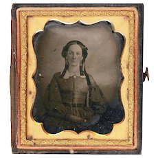 Attractive Ambrotype of a Lady With Clearly Visible Jewelry, Half Case, Sixth Plate, Mid-19th Century