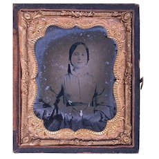 Hand-tinted Ruby Ambrotype of Young Girl with Provenance, Watch Chain and Jewellery, c1860