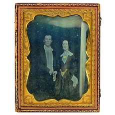Quarter Plate Daguerreotype of Elegant Couple Featuring Dramatic Jewelry, Half case, Mid-19th Century