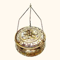 Beautiful Sterling Silver Pendant Pomander, Chester, 1910
