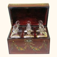 Large Painted Perfume Decanter Box, Complete with Decanters, 19th Century