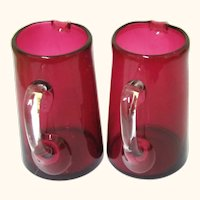 Colourful Pair of Ruby Glass Jugs with Clear Handles, Vintage