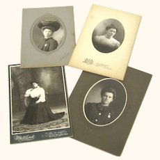 Four Fabulous Images of Ladies, 1890s, Showing Brooch Watches, Hairstyles & Fashions