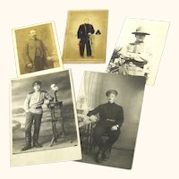 Group of Five Fascinating Images featuring Military Gentlemen Showing the Progression of Watch-Wearing, Mid-19th- Early 20th Century