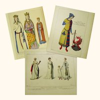 Three Coloured Fashion Plates of Ancient Costume, Raphaël Jacquemin, c1860