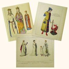 Three Coloured Fashion Plates of Ancient Costume, Raphaël Jacquemin, c1860