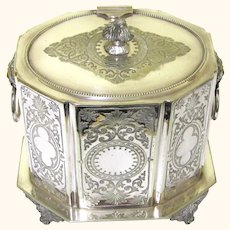 Attractive Silverplate Biscuit Box, Late 19th Century