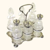 Elegant Silverplate & Cut Glass Cruet Set with Six Pieces, Victorian