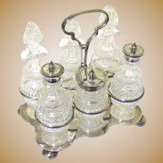 Elegant Silverplate & Cut Glass Cruet Set with Six Pieces, Victorian