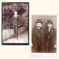 "Two Cabinet Cards of ""Dapper"" Gentlemen of the late 19th Century Wearing Watch Chains & Bowler Hats"