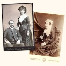 Two Victorian Cabinet Cards featuring Ladies with Spectacle & Watch Chains