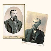Two American Cabinet Cards of Gentlemen Sporting Impressive Beards & Watch Chains, late 19th Century