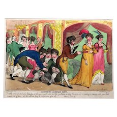 Hand-coloured Caricature 'Misiries of High Life', Thomas Rowlandson, 1807