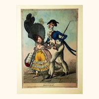 Hand-coloured Caricature 'Originals' Depicting Regency Couple, Published by Johnston