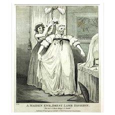 Black & White Engraving by Isaac Cruikshank, 1796, Watch & Chain Miniature