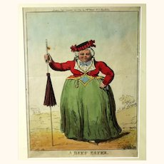 Hand-coloured Caricature of 'A Beef Eater' by Isaac Cruikshank, 1792, Watch Chatelaine, Parasol