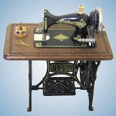 Delightful Bodo Hennig Miniature Sewing Machine with Reel Stand & Scissors, Vintage