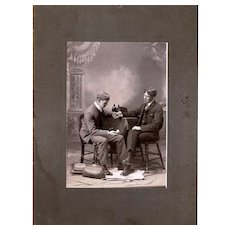 Fascinating Sepia Cabinet Card of Young Medical Students Taking a Pulse, late 19th Century
