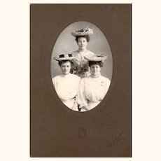 Cabinet Card Of Three Young Ladies with Hats Galore & a Watch Brooch, Late 19th Century