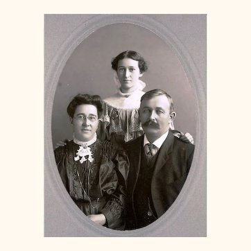 Pleasing Family Portrait Cabinet Card With Three Ways to Wear a Watch, c1895