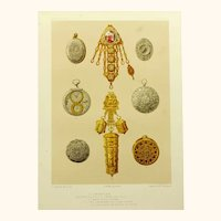Chromolithograph of Metallic Art, Six Early Watches and Two Early Chatelaines, Victorian
