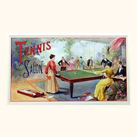 French Colour Print Depicting Early Table Tennis Players, 'Tennis de Salon', Late Victorian