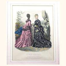 Exquisite Fashion Plate by Anais Toudouze, Bustle Gowns & Chatelaine, c1870