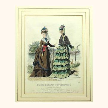 Intriguing Fashion Plate Depicting Bustle Gowns, Norwegian Belt & Parasols