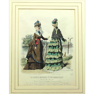 Intriguing Fashion Plate Depicting Bustle Gowns, Norwegian Belt & Parasols