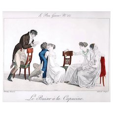 Pochoir Reproduction of Regency Engraving Depicts Couples Playing French Game 'La Capucine', Early 19th Century