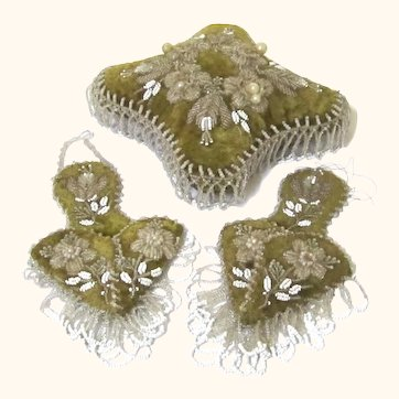 Beaded Trio for a Dressing Table, Pin Cushion & Watch Pockets, 19th Century